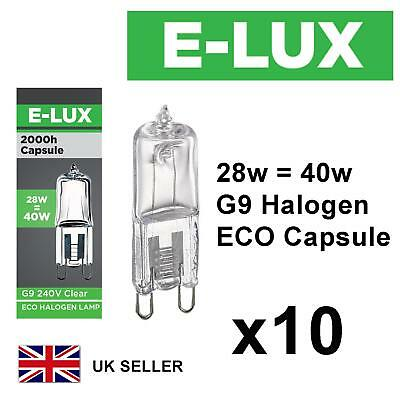 10 x G9 28w=40w E-LUX DIMMABLE ECO HALOGEN ENERGY SAVING bulbs Capsule 240V