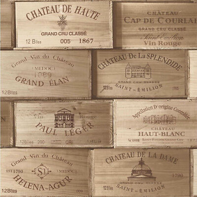 Wooden Effect VINYL Wallpaper Wine Box Wood Vintage Rustic Crates Bark Retro