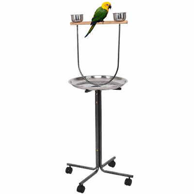 "51"" Pet Bird Parrot Play Stand Perch w/ Stainless Steel Pan Feeding Cups Casters"