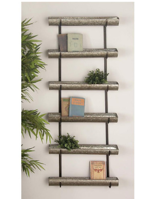 Plant Stand Planter 5 Shelves Rustic Galvanized 58 in. Shabby Chic Semi Cylinder
