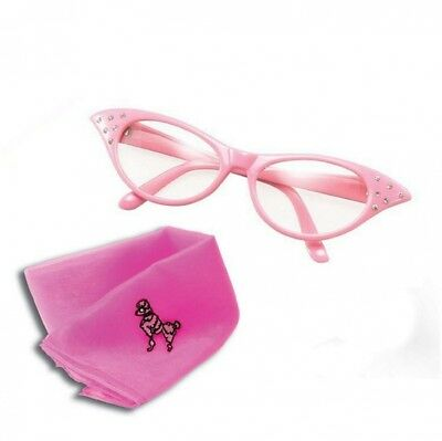 (Pink Clear Glasses & Scarf) - Womens Girls 50s Rock Roll Retro Grease Poodle