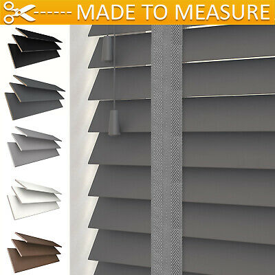 Custom Made To Measure Premium Real Wood Venetian Blinds Grey White Black Tape