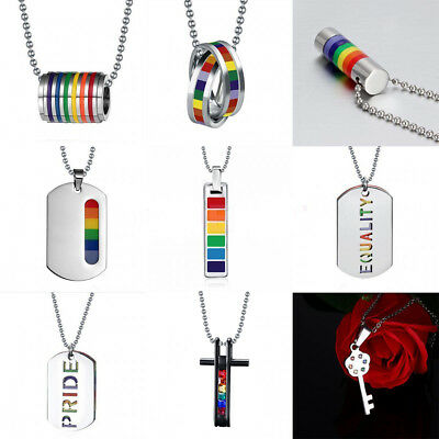 Gay Rainbow Pride Festival Stainless Steel Pendant Couple Necklaces LGBT Jewelry