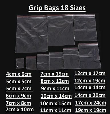 Small Clear Plastic Poly Grip Self Seal Resealable Zip Lock Mini Bags Jewellery