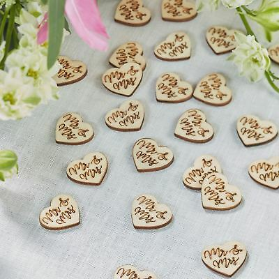Mr & Mrs Wooden Heart Shaped Table Confetti Boho Shabby Chic Rustic- Wedding