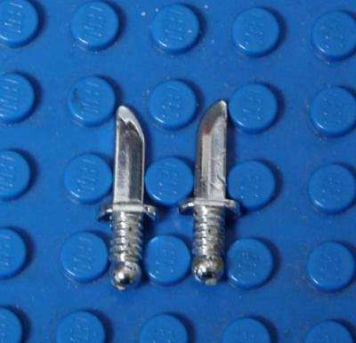 LEGO Minifig, Weapon Knife Chrome Silver x2PC