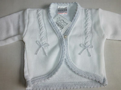 KNITTED BABY GIRL CARDIGAN WHITE Newborn, 0-3 3-6 mth Bows/sparkle Christening