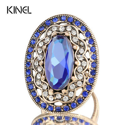 2017 New Charm Blue Big Ring Color Ancient Gold Vintage Wedding Rings For Wom...