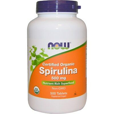 Certified Organic Spirulina 500 mg (500 Tablets) - Now Foods