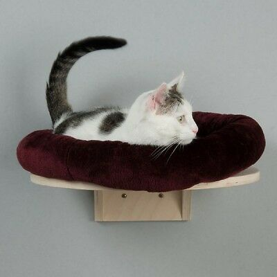 Wall Mounted Cat Bed Plush Round Cushion Natural Wood Washable Comfy Den