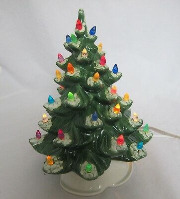 """Ceramic Christmas Tree Complete w/ 40 Lights 10.5"""" w/ White Base Doc Holliday"""