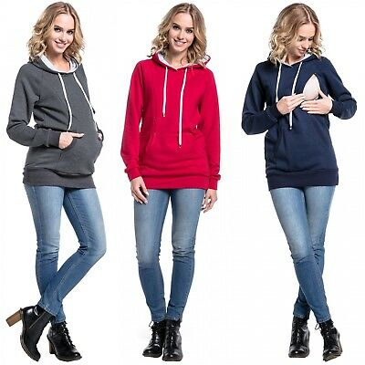 Happy Mama. Women's Maternity Hoodie Nursing Sweatshirt Kangaroo Pocket. 324p