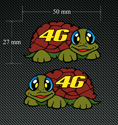 2 x VALENTINO ROSSI 46 TURTLE Style Sticker/Decal 50mm x 27mm Printed/laminated