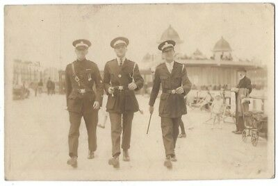 Men in Warden Uniforms at a Seaside Resort RP Postcard c1930s, Unused