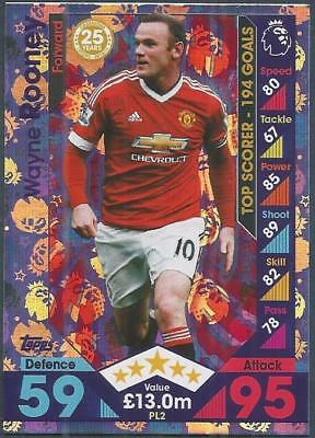 Topps Match Attax 2016-17 Extra- #Pl02-Manchester United-Wayne Rooney- Foil