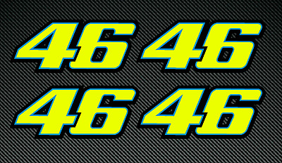 4 x 50mm VALENTINO ROSSI Style 46 Fluorescent Stickers/Decals Printed/laminated