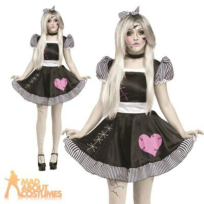 Ladies Sexy Broken Zombie Baby Doll Costume Halloween Fancy Dress Outfit New