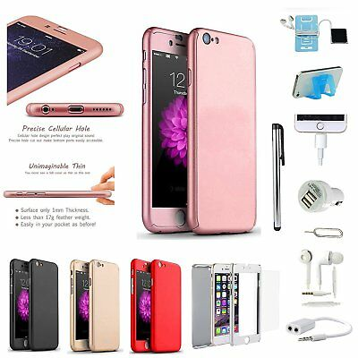 9 PCS Ultra Thin Shockproof Hard Case Cover Earphones Accessory Pack For iPhone