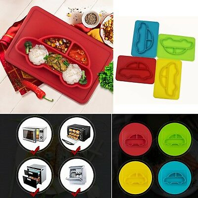 Silicone Mat Baby Kid Suction Table Ware Food Dish Tray Plate Bowl CAR Placemat