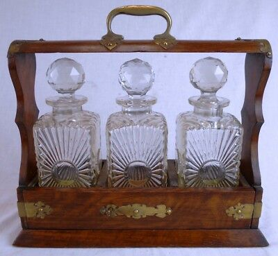 Antique Oak & Brass Tantalus (Caddy) w/Key & 3 Decanters