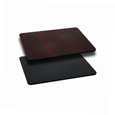 24'' x 30'' rectangular table top with black or mahogany reversible laminate