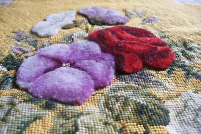Antique plushwork embroidery, woolwork embroidered flowers