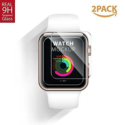2 Pcs Premium Tempered Glass Screen Protector for Apple Watch Series 2 38/42mm