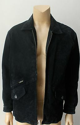 Men's Real Suede Leather Black Zip Up Quilted Lining Jacket Coat Size L