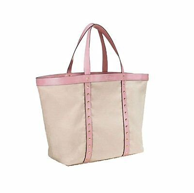 Victoria's Secret 2017 Large Canvas Tote Shoulder Bag Pink Studded Faux Leather