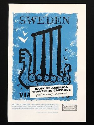 1957 Vintage Print Ad SWEDEN Bank Of America Tourism Travel Cheques