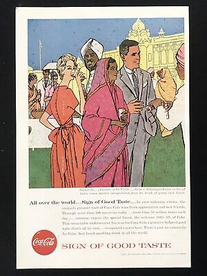 1957 Vintage Print Ad COCA COLA COKE Illustration Maharaja Palace