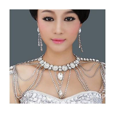 Onebest Wedding Bridal Women Crystal Rhinestone Shoulder Body Chain Necklace ...