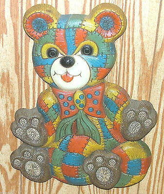 Colorful Patchwork Teddy Bear Vtg Wall Art Hanging Plaque Kid Child Baby Room