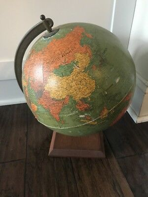 Vintage Replogle 12 inch Reference Globe Wood Base Metal Stand USA Desk Top
