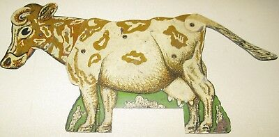"""Mechanical Dairy Cow 11"""" Litho Tin Sign Neat Old Orig Toy Store Feed Seed"""