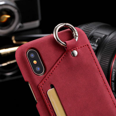 For iPhone 7 Plus 8 Back Vintage Luxury Leather Card Slot Ring Holder Case Cover