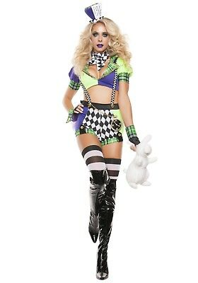 USED WOMEN'S SEXY TIPSY MAD HATTER COSTUME SIZE SMALL (with defect)