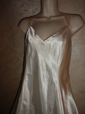 Vintage Womens Lingerie Cacique Satin Night Gown Size Medium Polyester Cream