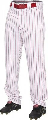 (2X, White/Scarlet) - Rawlings Youth Semi-Relaxed Pants with Pin Stripe Design