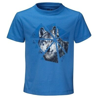 (Size 116 (5-6 Years Old) US, Wave Blue) - Jack Wolfskin Boys Wolf T-Shirt