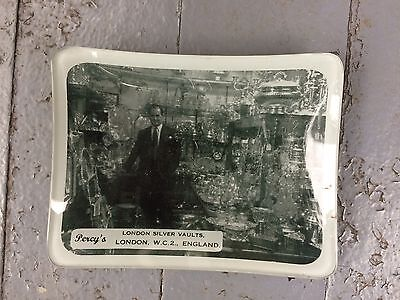 Antique Vintage Advertising Ashtray Percys Sterling Silver Interior Photo Pictur
