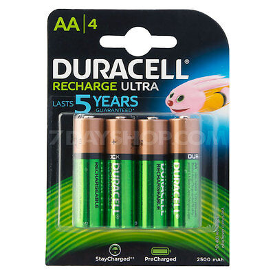 4 x Duracell AA HR06 2500mAh Duralock PRE/STAY CHARGED NiMH Rechargeable Batteri