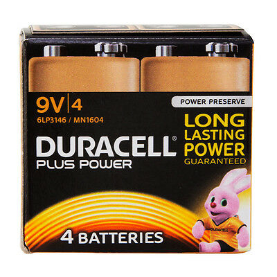 4 Pack Duracell PLUS POWER 9V 6LR61 MN1604 PP3 Alkaline Batteries Alarm & Remote