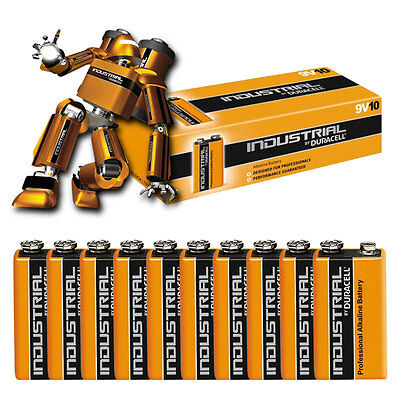 10 Duracell INDUSTRIAL Alkaline Batteries PP3 9V MN1604 6LR61 Replaces Procell9V