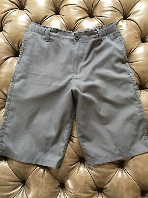 Youth Boys Under Armour Flat Front Adjustable Waist Poly Gray Golf Shorts YLG