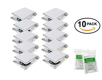 (Silver) - STEPS Emergency Blankets(10-Pack)Large Size 210 X 160CM Shiny