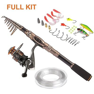 (2.7M 8.86Ft) - Plusinno® Spin Spinning Rod and Reel Combos Carbon Telescopic