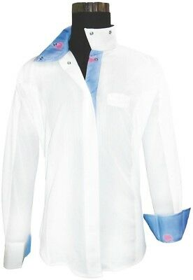 (34, White/lt Blue) - Equine Couture Ladies Whales Show Shirt. Brand New