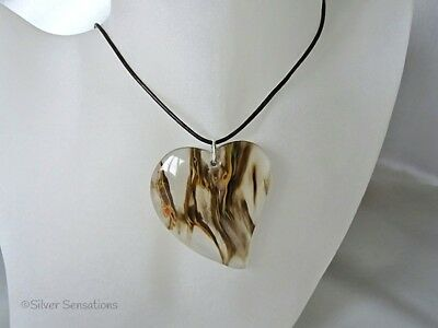 UNIQUE Natural Brown & Clear Agate Large Heart Gem Pendant & Leather Necklace