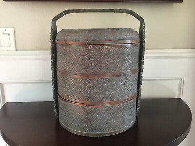 Antique Vintage Chinese Wedding 3 Tier Woven Carved Handle Food Basket